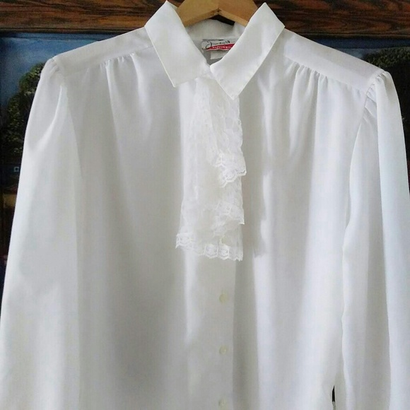 86b99b42a0d6d Vintage 80s Jabot Collar White Shirt. M 5c399f4604e33d166742dc5d. Other Tops  you may like. Vintage Floral Button Front Boho Rose XS Blouse
